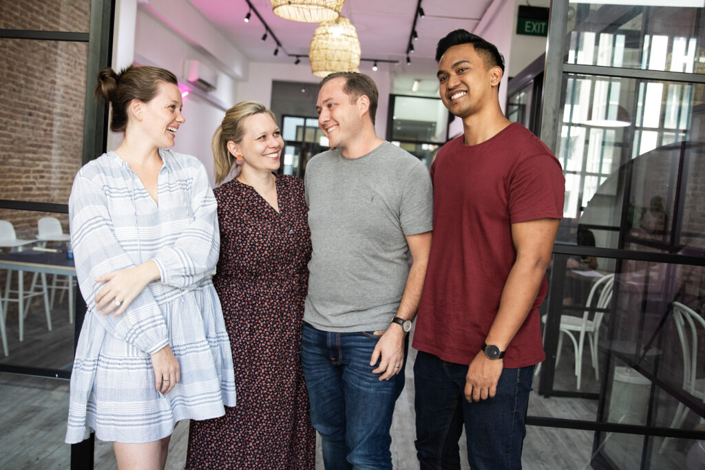 Alyce, Emma, Adam and Shah, in 2019